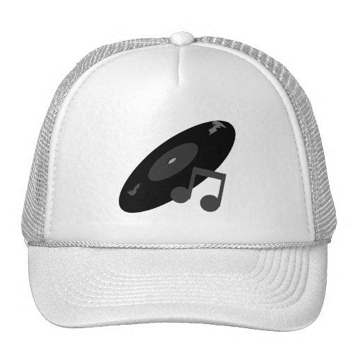 Retro Music Record & Note Black Mesh Hats