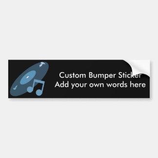 Retro Music Record Note Blue Bumper Stickers