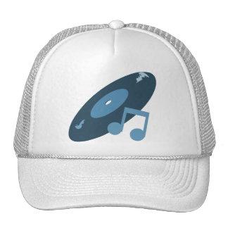 Retro Music Record & Note Blue Trucker Hat