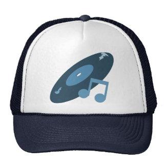 Retro Music Record & Note Blue Mesh Hats