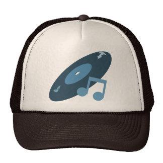 Retro Music Record & Note Blue Mesh Hat