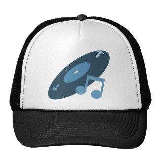 Retro Music Record & Note Blue Trucker Hats