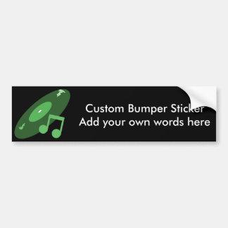 Retro Music Record Note Green Bumper Sticker