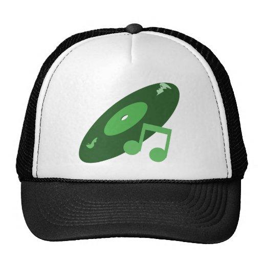Retro Music Record & Note Green Hat