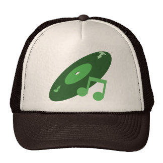 Retro Music Record & Note Green Mesh Hat