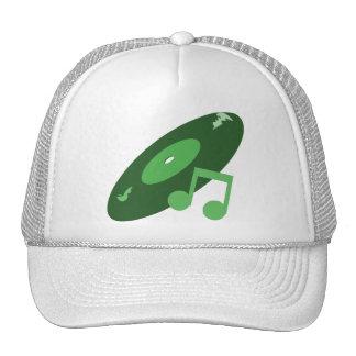 Retro Music Record & Note Green Trucker Hat