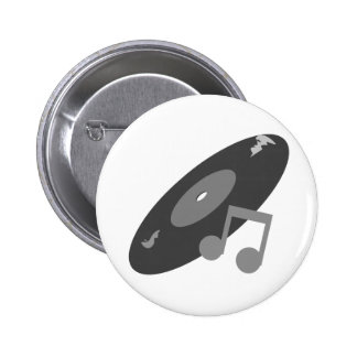 Retro Music Record Note Grey Pin