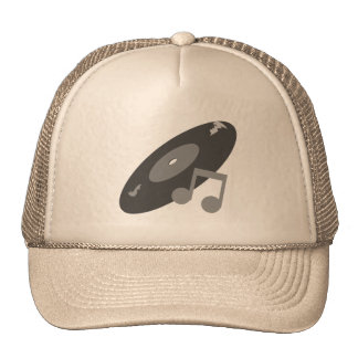 Retro Music Record & Note Grey Mesh Hats