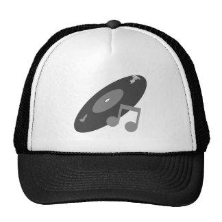 Retro Music Record & Note Grey Hats
