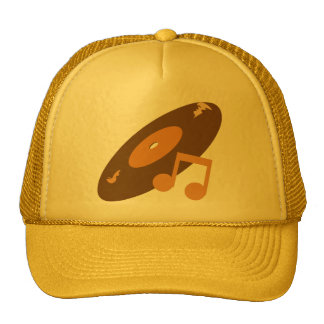 Retro Music Record & Note Orange Trucker Hats