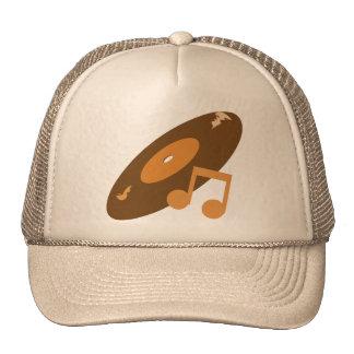 Retro Music Record & Note Orange Mesh Hat