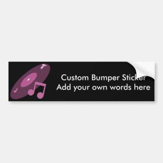 Retro Music Record Note Pink Bumper Stickers