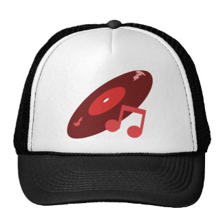 Retro Music Record & Note Red Mesh Hats
