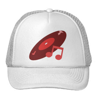 Retro Music Record & Note Red Trucker Hat