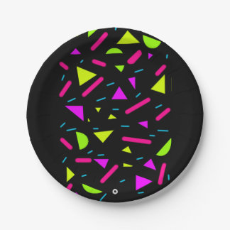 Retro Neon 80's Party Custom 7'' Paper Plates 7 Inch Paper Plate