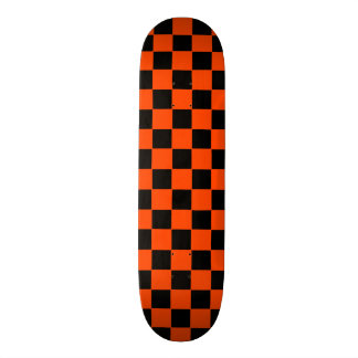Retro Orange and Black Checker Skateboard