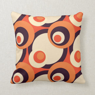 Retro Orange and Brown Fifties Abstract Art Throw Cushion