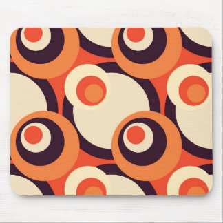 Retro Orange and Brown Fifties Abstract Art Mouse Pad