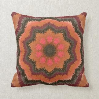 Retro Orange And Brown Kaleidoscope Pillow