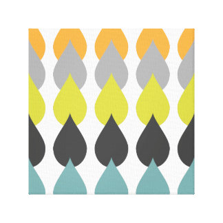 Retro Orange Chartreuse Yellow Aqua Gallery Wrapped Canvas