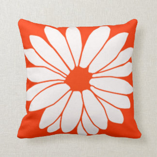 Retro Orange Daisy American MoJo Pillow Throw Cushion