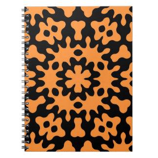 Retro Orange Floral Abstract Art Spiral Notebook