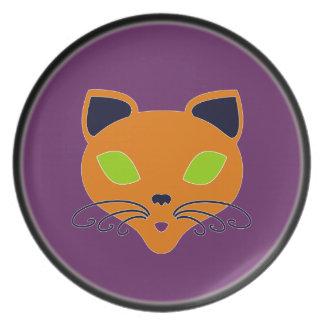 Retro Orange Lime Halloween Cat Dinner Plates