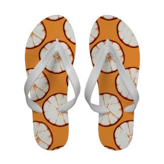 retro orange sllices on orange background Flip-Flops