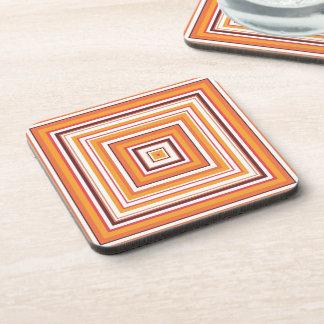 Retro Orange Striped Seamless Abstract Coaster