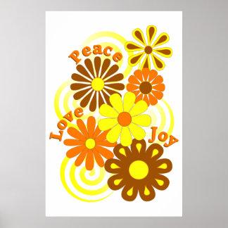 Retro Orange Yellow Floral Peace Love & Joy Poster