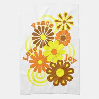 Retro Orange Yellow Floral Peace Love & Joy Towel