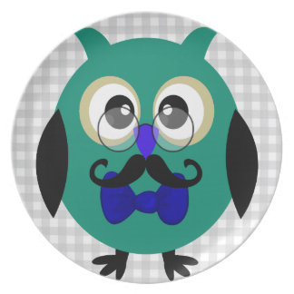 Retro Owl with Mustache & Glasses Party Plate
