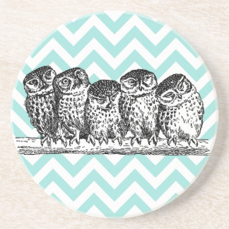 Retro Owls Perched on a Branch Sandstone Coaster