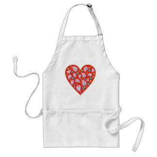 Retro Paisley Pop Heart Apron