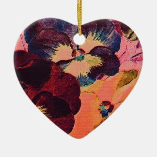 Retro Pansies Ceramic Heart Decoration
