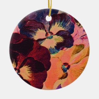Retro Pansies Round Ceramic Decoration