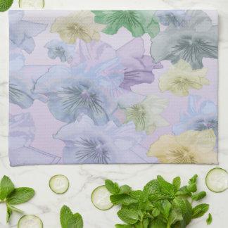 retro pansy flowers kitchen towel