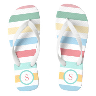 Retro Pastel Stripes with Your Monogram Jandals