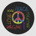 Retro Peace Round Sticker