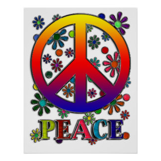 Retro Peace Sign & Flowers Poster