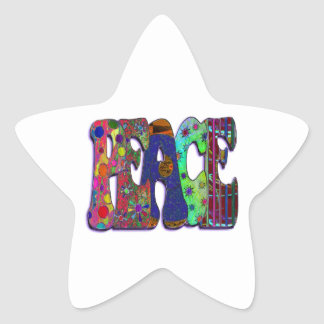 Retro Peace Sign & Flowers Star Sticker