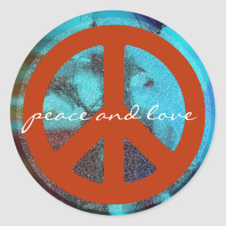 retro peace sign round stickers
