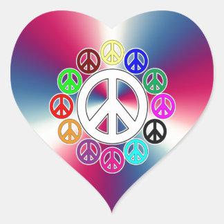 retro peace signs heart sticker