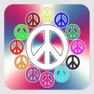 retro peace signs square sticker