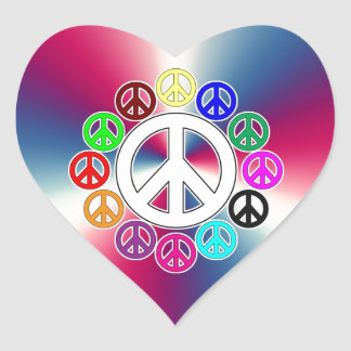 retro peace signs heart stickers