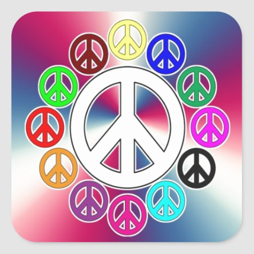 retro peace signs square sticker
