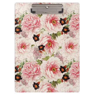 Retro Peony Flower Spring painterly Pattern Clipboard