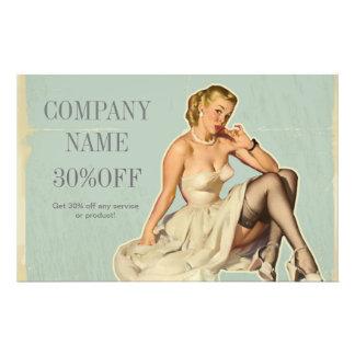 retro pin up girl beauty salon hair makeup artist 14 cm x 21.5 cm flyer