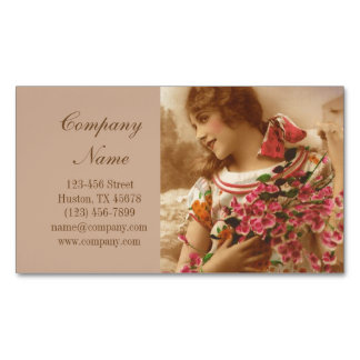 retro pin up Girl Hair Makeup Artist Cosmetologist Magnetic Business Card