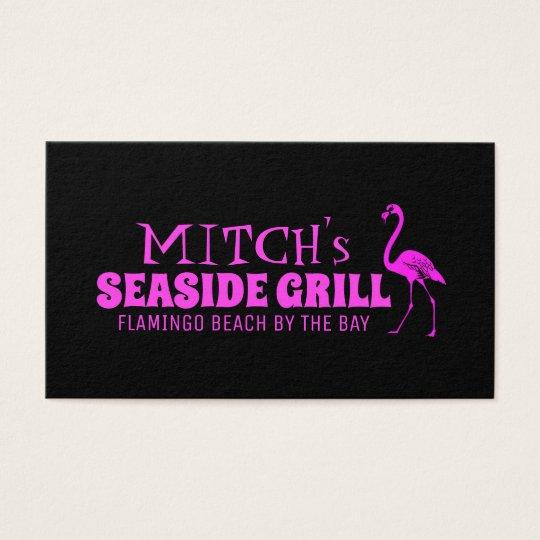 Retro Pink Flamingo Business Card